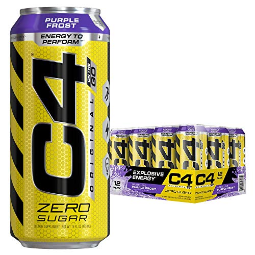 (Cellucor C4 Original Carbonated Zero Sugar Energy Drink, Pre Workout Drink + Beta Alanine, Purple Frost, 16 Fl. Oz (Pack of 12))