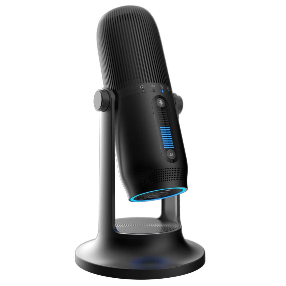 TRITTON Halo Cardioid Condenser Microphone, Micrófono de computadora con iluminación RGB con montaje de choque y cable U