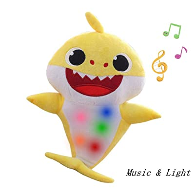 Chengbo Baby Shark Official Singing Plush, Shark Father, Mother Shark Singing English Songs for Boys and Girls ... l (Yellow): Toys & Games