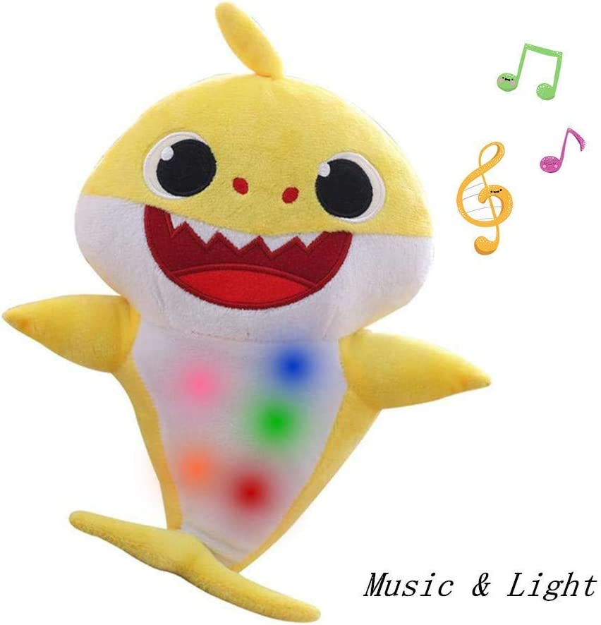 Chengbo-Baby Shark Official Singing Plush, Music Sound Baby Shark Plush Doll Soft Baby Cartoon Shark Stuffed & Plush Toys Singing English Song for Kids Gift Children (Yellow)