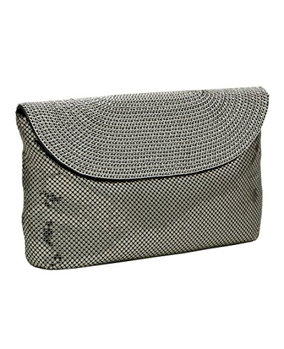 Whiting & Davis Chain Chain Chain Flap Clutch,Pewter,one size by Whiting & Davis