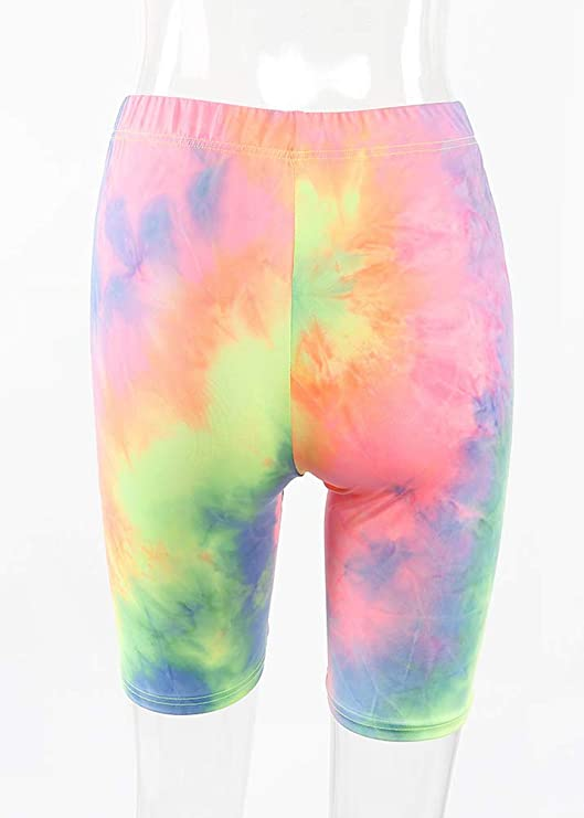 Funky Tie Dye Ladies Yoga Shorts size medium w17