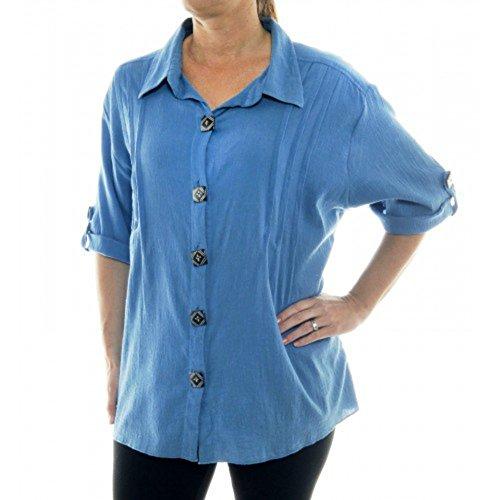 Crinkle Cotton Plus Size We Be Bop ChaiLatte Blue Barbara Top (5X Bust/Hip 74 Length 33)