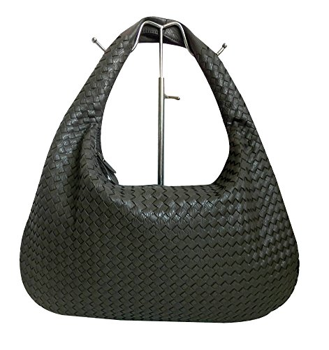 ILISHOP Hot Sale Women's Classic Italian Intricate Woven Large Flat Hobo Handbag Shoulder Bag (Dark-grey)
