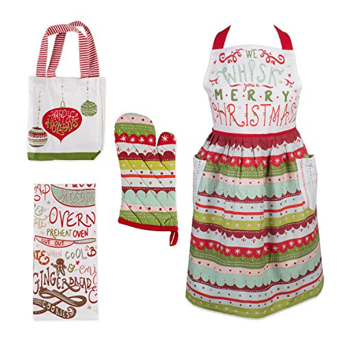 DII, Holiday Baking Set, Apron Dress, Oven Mitt, Dishtowel and Tote, 4 Pieces, Cozy Christmas ()