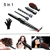 QJHP 5 in 1 Curling Wand Set Ceramic Cone Hair Curler Multifunction Temperature Control Self-Locking Function with 5 Interchangeable Barrels with Heat Resistant Glove