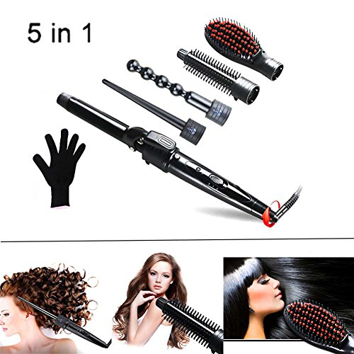 QJHP 5 in 1 Curling Wand Set Ceramic Cone Hair Curler Multifunction Temperature Control Self-Locking Function with 5 Interchangeable Barrels with Heat Resistant Glove by QJHP (Image #8)