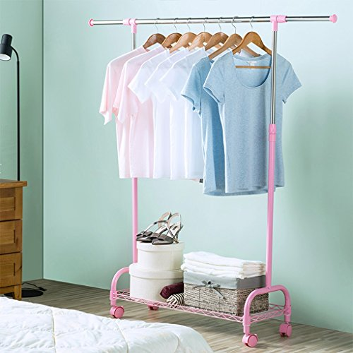 Single Pole Stainless Steel Drying Rack, Retractable Lift Landing Frame, Indoor Balcony Adjustable Hanger (L98~140cmW34cmH100~172cm) (Color : Pink)