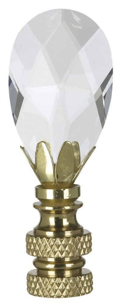 Royal Designs Teardrop Crystal Lamp Finial for Lamp Shade- Polished Brass