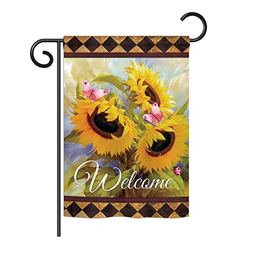 Ornament Collection GS191022-BO Welcome Sunflower Spring Spring Floral Impressions Decorative Vertical 13″ x 18.5″ Double Sided Garden Flag Set with Banner Pole Included Printed in USA For Sale