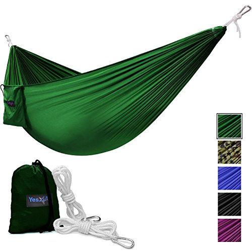 Yes4All Single Lightweight Camping Hammock with Carry Bag – Nylon Parachute Hammock / Lightweight Portable Hammock for Camping, Hiking (Green)