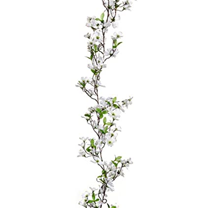 Amazon retailsource spring floral artificial 72 white dogwood retailsource spring floral artificial 72quot white dogwood flower garland mightylinksfo