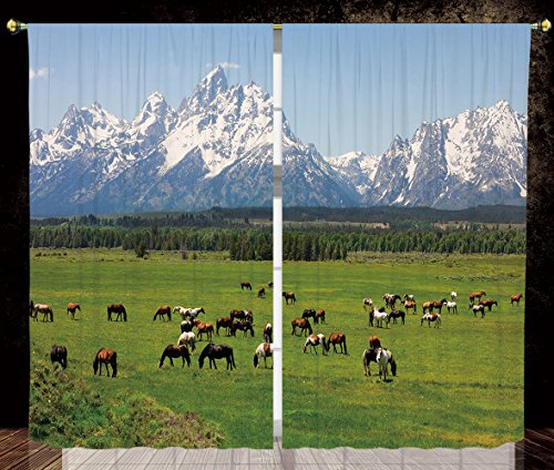 Thermal Insulated Blackout Window Curtain,Horse Decor,Grand Teton National Park Snowy Mountains Fresh Greenery Trees Animals Decorative,Green Light Blue,Living Room Bedroom Kitchen Cafe Window Drapes - Mountains Grand Teton National Park