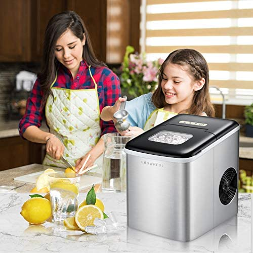 Crownful Ice Maker Machine for Countertop, 9 Ice Cubes Ready in 8-10 Minutes, 26lbs Bullet Ice Cubes in 24H, Electric Ice Maker with Scoop and Basket