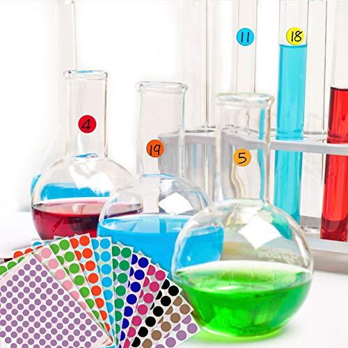 Koogel Rund Punktaufkleber, 19mm und 13mm Bunte Klebepunkte Farbkodierung Etiketten Markierungspunkte 10 Bleche Verschiedene Farben