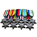 Military Medals 9x Complete Group Set 1939 - 45 star , Air crew Europe Star , France and Germany Star , Africa Star , Arctic Star , Pacific Star , Italy Star , Burma Star , Atlantic star Repro