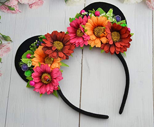 Flower Minnie Mouse Ears Mickey Disney inspired Floral headband Birthday crown Party supplies