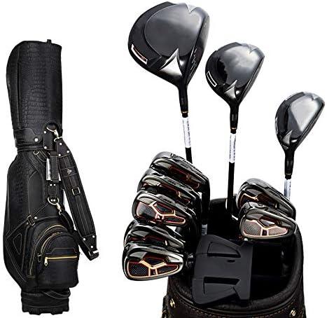 ゴルフコンプリートセット 黒のボールバッグブラックボールバッグブラックロッドとメンズゴルフクラブゴルフフルセットゴルフプロフェッショナルゲームクラブゴールドポール クラブセット (色 : Black, Size : 11)