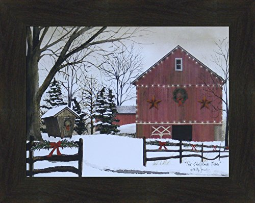 The Christmas Barn by Billy Jacobs 16x20 Red Barn Winter Landscape Country Primitive Folk Art Print Wall Décor Framed Picture (2