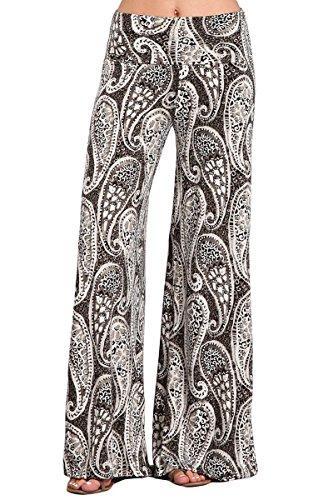 HEYHUN Plus Size Womens Tie Dye Solid Wide Leg Bottom Boho Hippie Lounge Palazzo Pants - Charcoal - - Paisley Hippie