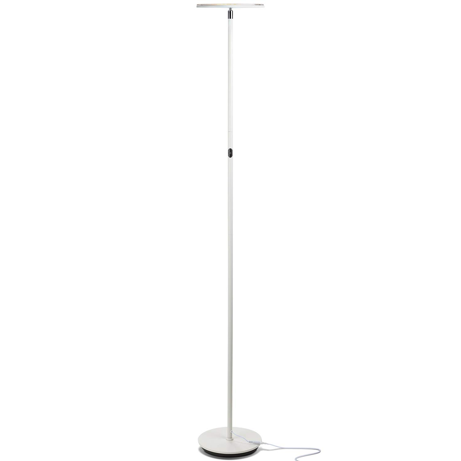 Brightech Sky Flux - Modern LED Torchiere Floor Lamp for Living Rooms & Bedrooms - Adjustable Warm to Cool White - Tall Pole, Standing Office Light - Bright, Minimalist & Contemporary Uplight - White