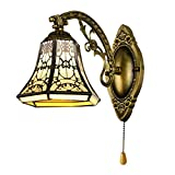 BAYCHEER Tiffany Style Glass Shade Vintage Wall Sconce Lamp Fixture One Light for Kitchen Island Dining Room or Living Room - with Switch