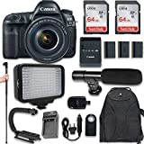 Canon EOS 5D Mark IV DSLR Camera with Canon EF 24-105mm f/4L IS II USM Lens + 120 LED Video Light + Large Monopod + 128GB Memory + Shotgun Microphone + Camera & Flash Grip Handle Stabilizer