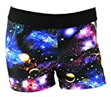 Womens 3 Inch Spandex Compression Shorts (Galaxy, X-Large)