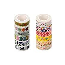 Washi Masking Tape Set Decorative Paper Tapes for Arts and DIY Crafts, Gift Wrapping, Holiday Decoration (Set of 10)