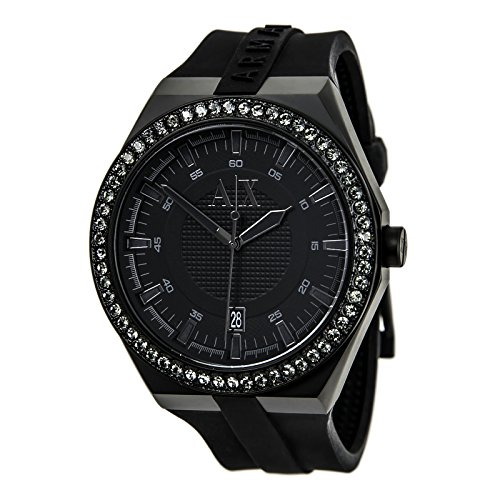 AX1217 Watch Armani Exchange Men's Classic Stainless steel case, Silicone strap, Black dial, Quartz movement, Scratch resistant mineral, Water resistant up to 5 ATM - 50 meters - 165 feet by A|X Armani Exchange