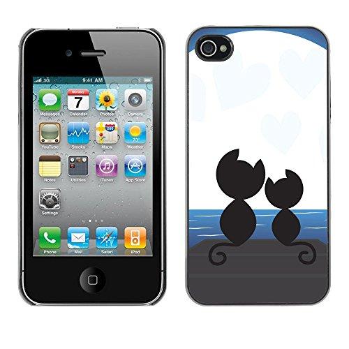 TaiTech / Case Cover Housse Coque étui - Cats Love Couple Romance Moonlight Art Black - Apple iPhone 4 / 4S