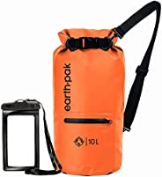 Earth Pak- Waterproof Dry Bag with Front Zippered Pocket Keeps Gear Dry for Kayaking, Beach, Rafting, Boating,