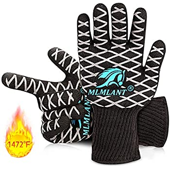 MLMLANT BBQ Grilling Gloves, 1472℉ Extreme Heat Resistant Gloves, Non-Slip & Premium Insulated Kitchen Oven Mitts for Baking Cooking Cutting Welding -1 Pair (L)