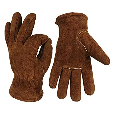 OZERO Men's Work Driver Gloves Cowhide Warm Cashmere Windproof Security Protection Wear Safety - Safety & Protective Gear Gloves -1 x Pairs of Coffee OZERO Gloves