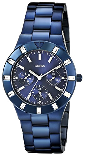 GUESS Women's U0027L3 Iconic Blue-Plated Stainless Steel Watch (Guess Watches For Women Blue)