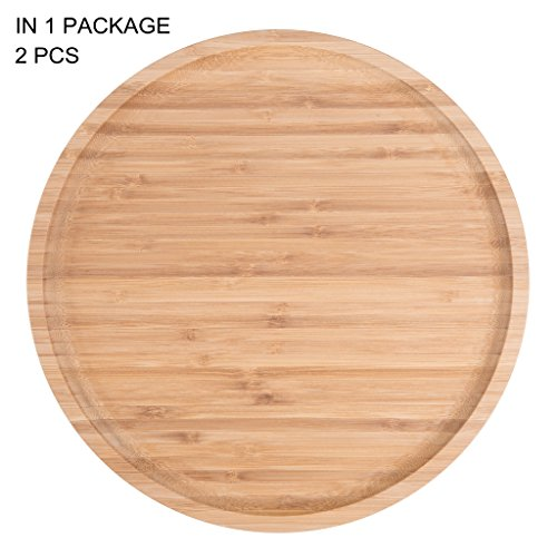 (2-Pack Bamboo Round Plates,12 Inches Cheese Plates Coffee Tea Serving Tray Fruit platters Party Dinner Plates Sour Candy Tray)