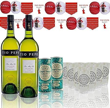 González Byass Pack Feria con 2 Botellas Tío Pepe 750 ml y 2 Latas de Croft Twist 250 ml y Material de Feria (10 Vasos de Plástico y Guirnaldas) - 2000 ml