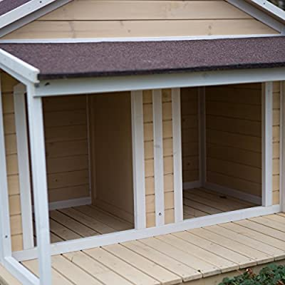 Antique Large Dog House W Roof Solid Wood Penthouse Kennels Crates Duplex 51x43x43 W Balcony & Ez Entrance for Two Dogs. For Outdoor Dog Bed Has a Raised Bottom and Natural Insulation. White Wash from Boomer & George