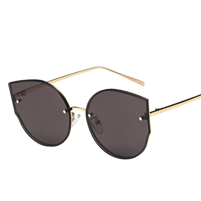 dbae4229dd381a OverDose Unisex Stylish Vintage Classic Metallrahmen Sonnenbrille  Katzenaugen Brille Reflektierenden Spiegel (Grau)