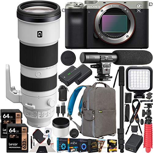 Sony a7C Mirrorless Full Frame Camera Body with FE 200-600mm F5.6-6.3 G OSS Super Telephoto Zoom Lens SEL200600G Silver ILCE7C/S Bundle w/Deco Gear Photography Backpack Case Software & Accessories
