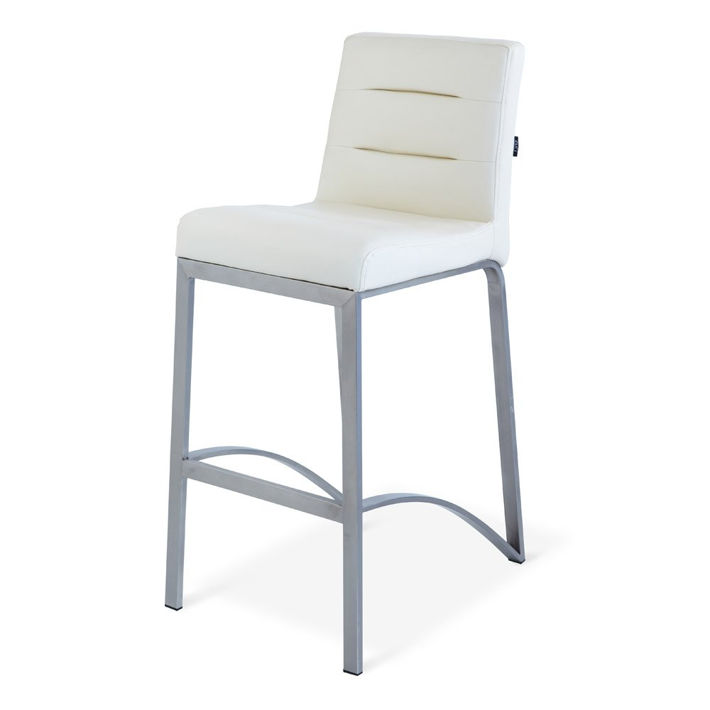 Amazon.com: Zuri Furniture Lynx Counter Height Contemporary Bar Stool With  Metal Base   Cream: Kitchen U0026 Dining