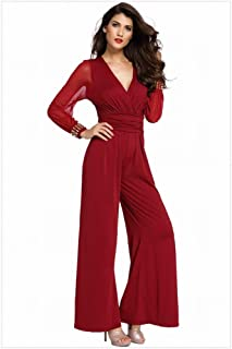 Thumby-Girl cloth Pantalones de Mujer de Manga Larga con Cuello en V Costuras de Encaje Flare XL Pantalones de Mujer Casual, Vino Rojo, XXL