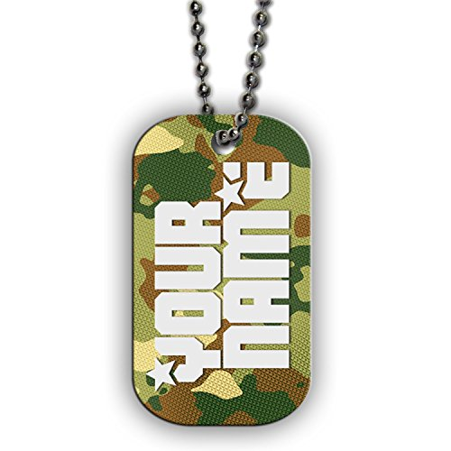 (BleuReign(TM) Personalized Custom Name Green Camo Print Dog Tag Single Sided Metal Military ID Dog Tag with Beaded Chain)