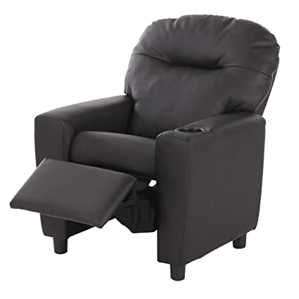 Amazon.com: HONEY JOY Contemporary Kids Recliner, PU Leather Lounge  Furniture For Boys U0026 Girls W/Cup Holder, Children Sofa Chair (Black):  Kitchen U0026 Dining