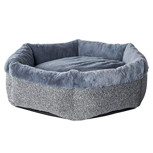 Cozy Calming Dog Bed for Small Dogs,Comfy,Fluffy,Ultra Soft,Anti-anxiety,Removable Washable Cover,Round Pillow Donut Pet Bed for Dogs.(Medium27x27inch,Grey)
