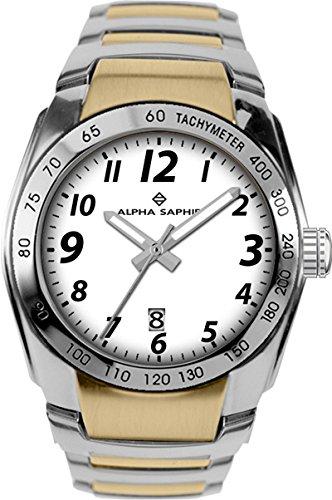 Alpha Saphir Reloj Analógico para Hombre de Cuarzo con Correa en Acero Inoxidable 274I: Amazon.es: Relojes
