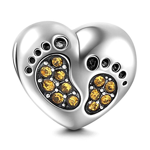 Footprint Charm with Heart 925 Sterling Silver Family Love Bead Baby First Steps Charm for Charm Bracelet (Topaz)