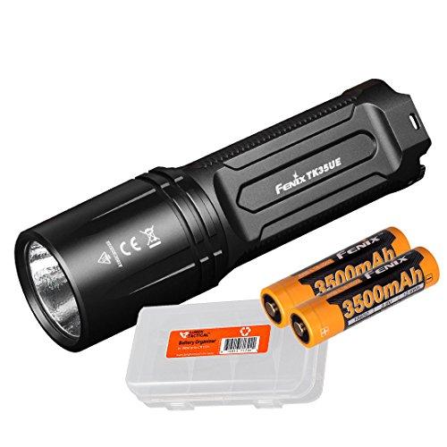 Fenix TK35 Ultimate Edition 2018 3200 Lumens Rechargeable LED Flashlight w/2x Fenix 3500mAh Rechargeable Batteries and Lumen Tactical Battery Organizer