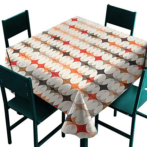 (Warm Family Geometric Polyester tableclothVintage Oval Pattern with Radiant Tone Effects Mosaic Illustration Indoor Outdoor Camping Picnic W50 x L50)