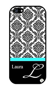 Personalized Epic Damask Pattern RUBBER iphone 5 / iPhone 5S case - Fits iphone 5, iPhone 5S T-Mobile, AT&T, Sprint, Verizon and International (Black)